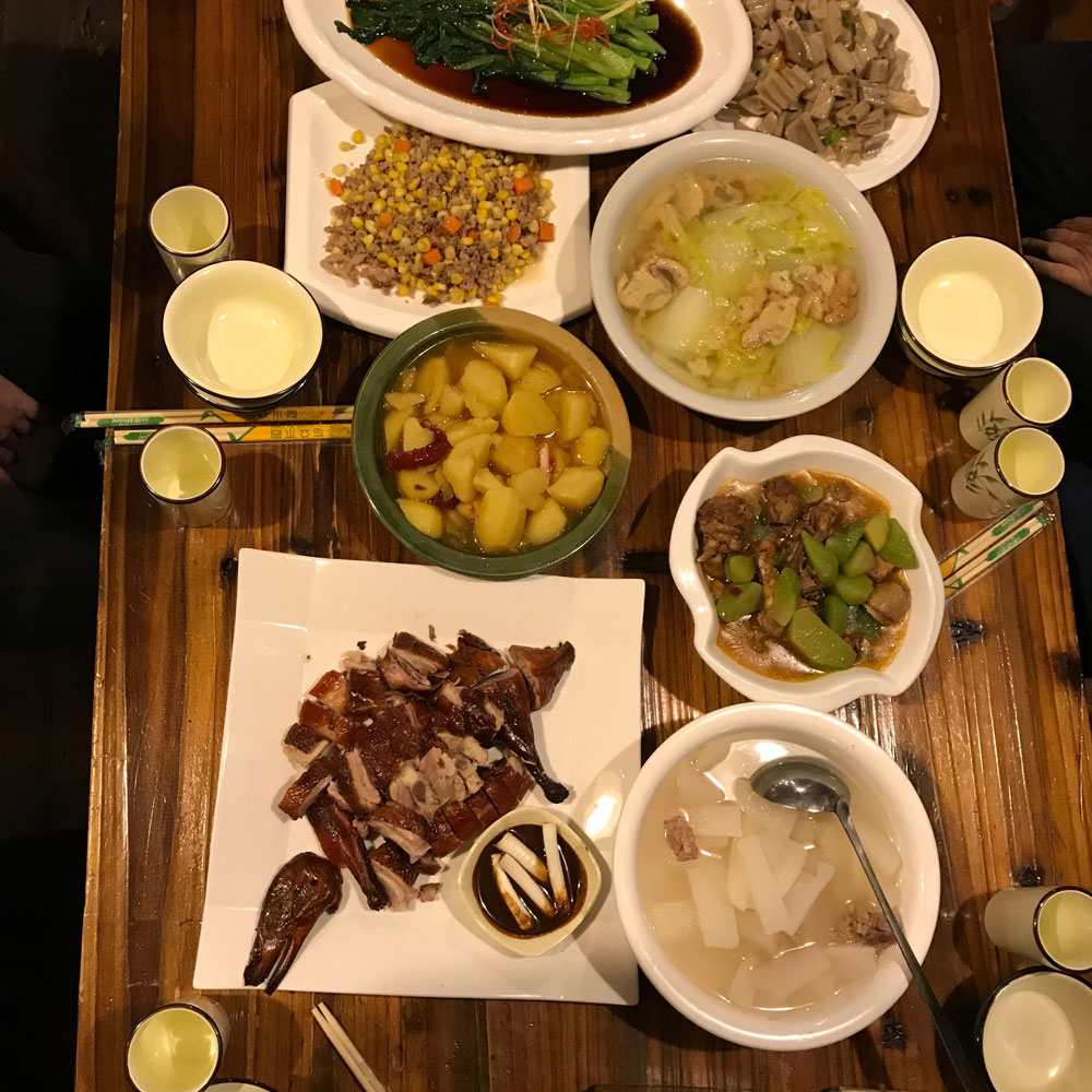 Typical dinner in China